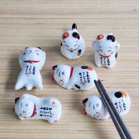 Novelty Ceramic Fortune Cat Chopsticks Rest Holder Kitchen Cutlery Stand Random
