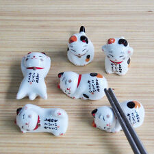 Novelty Ceramic Fortune Cat Chopsticks Rest Holder Kitchen Cutlery Stand Random