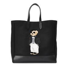 Ralph Lauren Purple Label French Riviera Bear Logo Canvas Leather Black Tote Bag