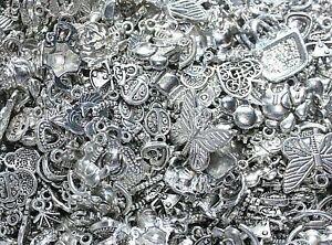 50 bulk lot Tibetan silver mix charms necklace jewellery craft making wholesale