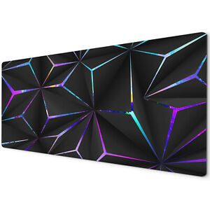 60 x 30cm Extra Large Mouse Mat Pad Gaming PC Geometric Black Neon Purple Blue