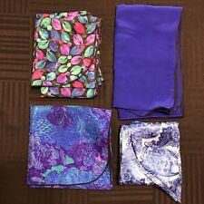 4 Scarves Oblong Bright Blue Wingtip Floral Flower Paisley Satin Vtg Scarf Lot