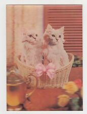 Vintage 1960s/70s Lenticular 3D Postcard Little Kittens Cats in Basket #185