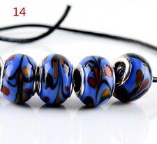 5pcs SILVER MURANO GLASS BEAD fit European Charm Bracelet Jewelry Making [14#]
