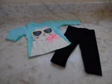 Baby Girl 6 Months Carters Turquoise Cat Top Just 1 U Black Stretch Pants Outfit