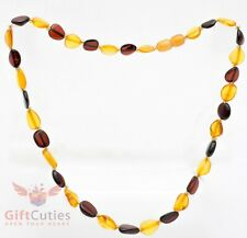 Golden and Cognac Amber Necklace Polished Natural Baltic Amber Beads