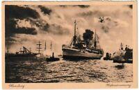 Ansichtskarte Hamburg - Hafenstimmung mit Einfahrt Schiff - schwarz/weiß