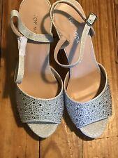Top Moda Womens Heels Pumps Rhinestones Glitter Silver Size 9 Wedge Platform