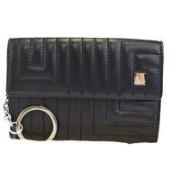 Auth BALLY Logos Bifold Wallet Coin Case Key Ring Leather Black Italy 09EK292