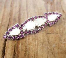 Vintage 60s Purple Rhinestone & MOP Brooch Pin Costume Jewellery Retro Jewelry