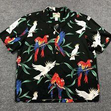 Vintage Paradise Found Mens XL Black Hawaiian Shirt Magnum PI Colorful Parrots