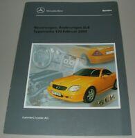 Werkstatthandbuch Mercedes SLK R 170 Neuerungen Änderungen Buch Stand 2000!
