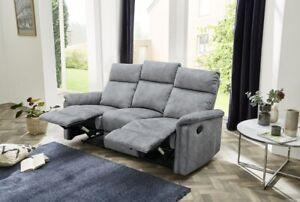 Sofa Couch 3-Sitzer Velourbezug Vintage hellgrau mit Funktion