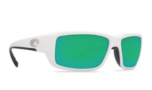 New Costa Del Mar Fantail Polarized Sunglasses 580P White/Green Mirror Wrap