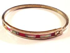 Inlay Abalone Red Enamel 14g Vgc} Vtg 925 Sterling Silver Bracelet Bangle Mexico