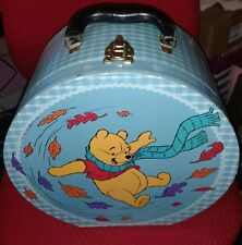 VINTAGE DISNEY WINNIE THE POOH ROUND KIDS SUITCASE TOY/DOLL/HAT BOX w/ HANDLE