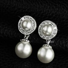 Butterfly Fastening Pearl White Gold Filled Fashion Earrings