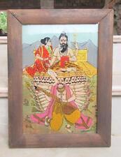 Antique Original Miniature God Shiv & Ravan Glass Tanjore Painting Rural FolkArt