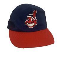 Vtg Cleveland Indians Baseball Hat Snapback Trucker Mesh Back Chief Wahoo Logo