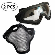 Airsoft Mask Adjustable Half Face Mask Steel Mesh Mask and Goggles Set