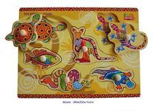 Wooden Puzzle Knob Australian Animals ABORIGINAL art Kangaroo Matching Game Toy