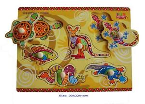 NEW Wooden Puzzle Knob Australian Animals ABORIGINAL art Kangaroo  Australia Toy