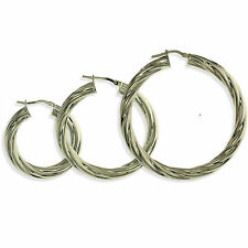STERLING SILVER HOOP EARRINGS ROUND CREOLES TWISTED CABLE TUBES SLEEPERS PIERCED