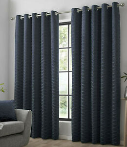 Kendal Navy 90 x 90 Lined Eyelet Ring Top Curtain Pair