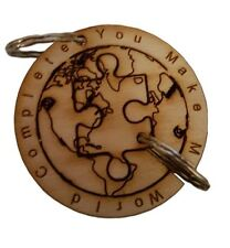 World Jigsaw Puzzle Keyring Engraved Couples Gift Two Pieces Gift Half Keep Half