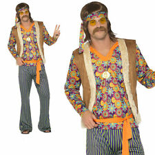 60's Hippie Sonny Costume Mens You Babe Hippy 1960s Fancy Dress Outfit