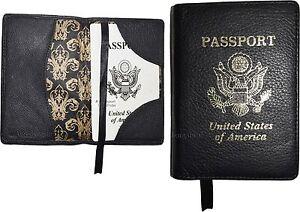 Lot of 2 New Leather passport cover, Black Unbranded international passport case