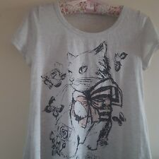 pale off white ivory grey colour long top tshirt cute sweet cat detail print 6/8