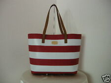 Authentic Michael Kors Jet Set Travel Stripe PVC Women's Tote Bag White Red