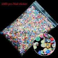 1000pcs 3D Fruit Animals Fimo Slice Clay DIY Nail Art Tips Sticker Decoration Pg