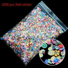 1000pcs 3D Fruit Animals Fimo Slice Clay DIY Nail Art Tips Sticker Decoration OH