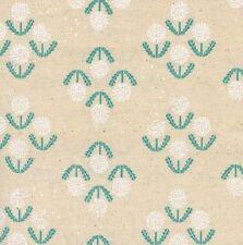 Leinen Weiß Patchworkstoff Cotton+Steel Stoff Blumen Vintage Beige Petrol Blüte