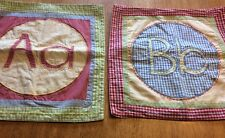 Set (2) Pottery Barn Kids Abc's Cloth Quilted Square Placemats Children Baby A&B