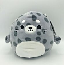 """Squishmallow Isis Spotted Seal Plush Stuffed Animal Gray 8"""" Kellytoy 2021 NWT"""
