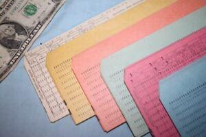 150 Vintage Computer Punch Cards Pink Yellow Orange Green Blue White PRR Data