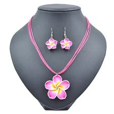 Lady Summer Beach Hawaiian Peach Frangipani Flower Necklace&Earring Jewelry Set