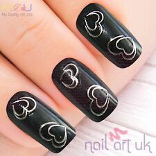 Silver Metallic Heart Love Water Decal Nail Stickers Tattoo Art 01.03.007