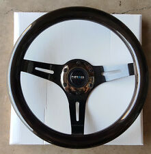 [SALE] NRG Steering Wheel Black Wood Grain 310mm 3-Spoke Black Chrome Center