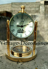 """Handmade Working Brass Marine Clock Table Top """"Perfect For Office Or Home"""" DECOR"""