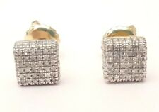 10K Yellow Gold Over Round Cut D/VVS1 Squre Prong Set Mens Womens Stud Earrings