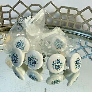 "Ceramic Porcelain Drawer Pulls Knobs Lot of 6 White and Blue Floral 1 1/2"""