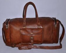 Curo Men ALL Brown Leather  Carry-On Duffle Weekend Luggage Travel Bag