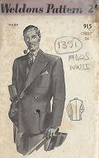 "1940s WW2 Vintage Sewing Pattern MEN'S JACKET BLAZER C38"" (1351)"
