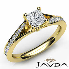 Princess Cut Pave Set Diamond Engagement Ring GIA E VVS2 18k Yellow Gold 1.06Ct