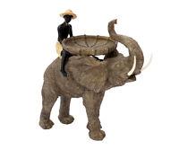 Große Dekofigur Reiter auf Elefant Dekoration Afrika Figur Skulptur mit Schale