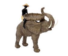 Große Dekofigur Junge Auf Elefant Dekoration Afrika Figur Safari Skulptur Garten